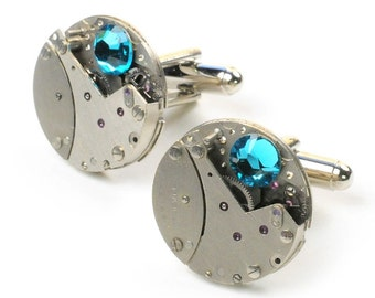 Blue Zircon Steampunk Vintage Watch Cuff Links
