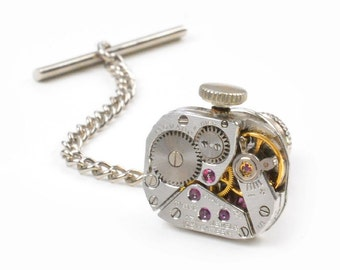 Vintage Movado Watch Movement Steampunk Tie Tack Pin Chain Clip