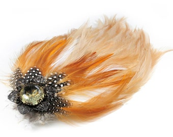 Steampunk Feather N Vintage Czech Glass Jewel Hair Clip