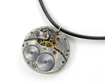 Steampunk 1914 Waltham Pocket Watch N Black Rubber Chain with Sterling Silver Ends Necklace