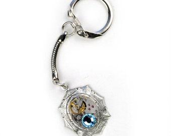 Steampunk Watch Movement n Crystal Silver Key Chain