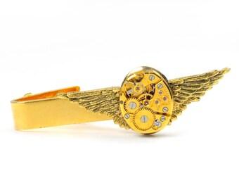 Steampunk  Vintage Gold Bulova Watch Angel Wing Tie Bar Alligator Clip