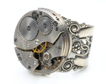 Steampunk Antique 1915 Waltham Watch Movement Ring
