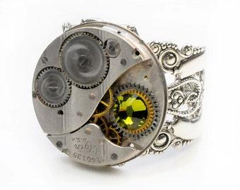 Petite Emmaline  - 1922 Elgin Watch Steampunk Ring