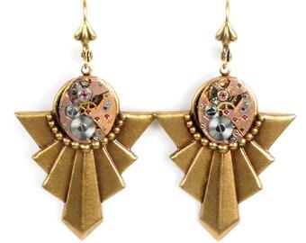 Steampunk vintage rose gold Watch Brass Art Deco Earrings