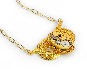 Vintage Gold Watch Steampunk Necklace