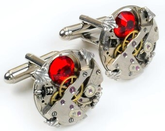 Steampunk  Vintage Watch n Ruby Crystal Turtle Prong Edge Cuff Links