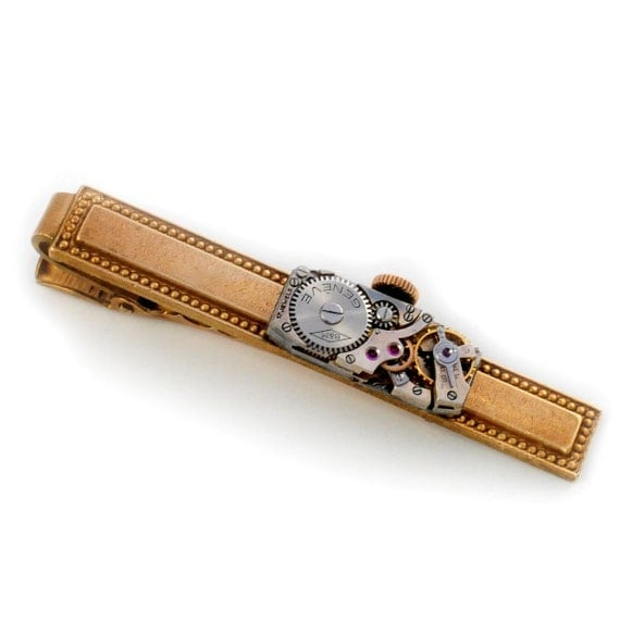 Steampunk Vintage Watch Brass Tie Bar Alligator Clip