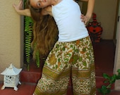 Boho Hippie Chick Capri Culottes -  Pants -Sunny  Sunflower Design - Size 7 yr.