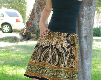 Hippie Chick Hippie skirt - Very Full - Green Rust Tier Drop -  6-7  - Fits many sizes - Read Measurements