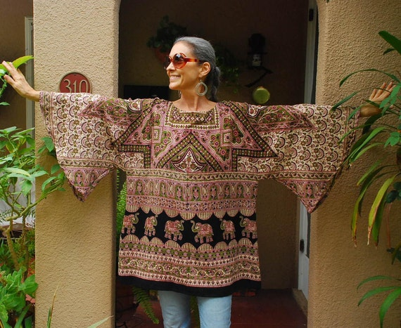 Boho Hippie Angel Blouse Tunic - East Indian Tapestry fabric -   free size