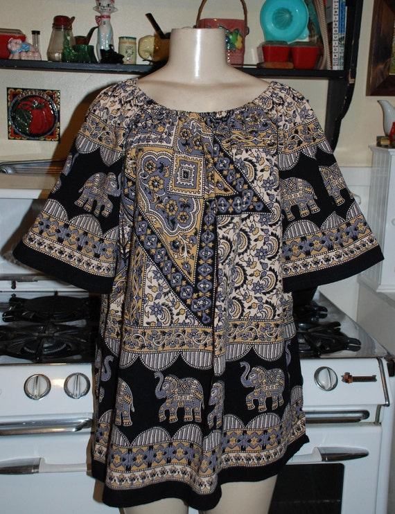 Boho Hippie tunic Peasants Blouse -East Indian Tapestry fabric - Gray-black -cream design-size med. large
