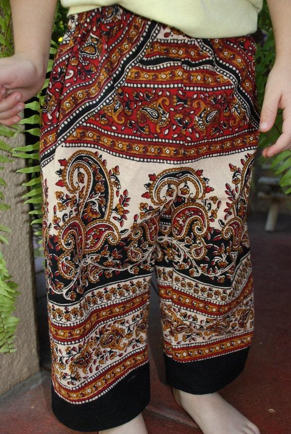 Boho Hippie Pants- East Indian Fabric - Red Raj Design- Size 2  Girls or Boys