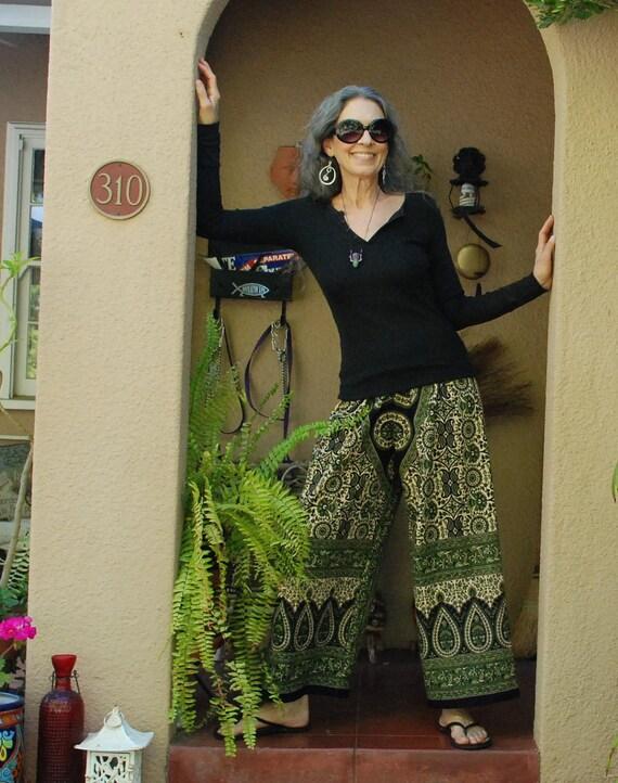 "Hippie Pants - East Indian Tapestry - 38"" long - Hips 44"" - Green Tier Drop Kalamkari Design- Medium - read measurements"