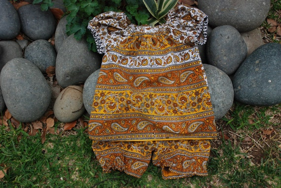 Baby Boho Hippie Peasant Tunic  with Bloomers Set - Sunny Paisley design- Size 1