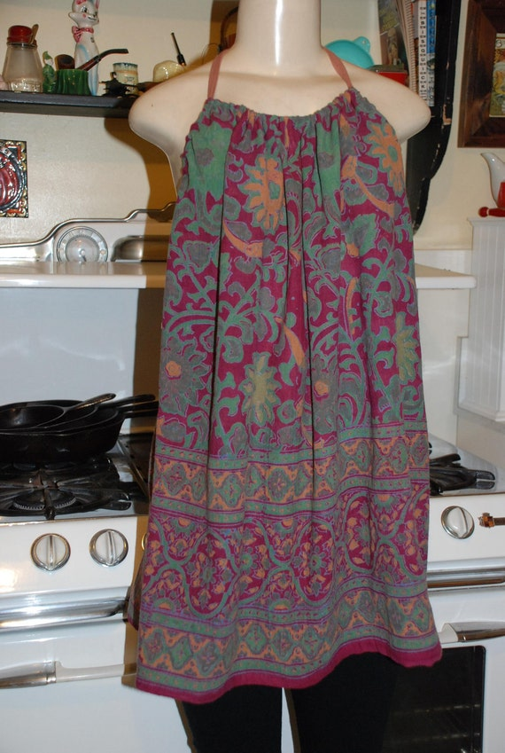 Boho Hippie Halter Blouse - Burgundy Sunflower design - fits most