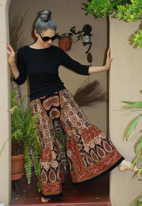 Boho Hippie Gypsy Ruffle Pants - Red  Tier Drop  Design - one size  fits most- read measurements
