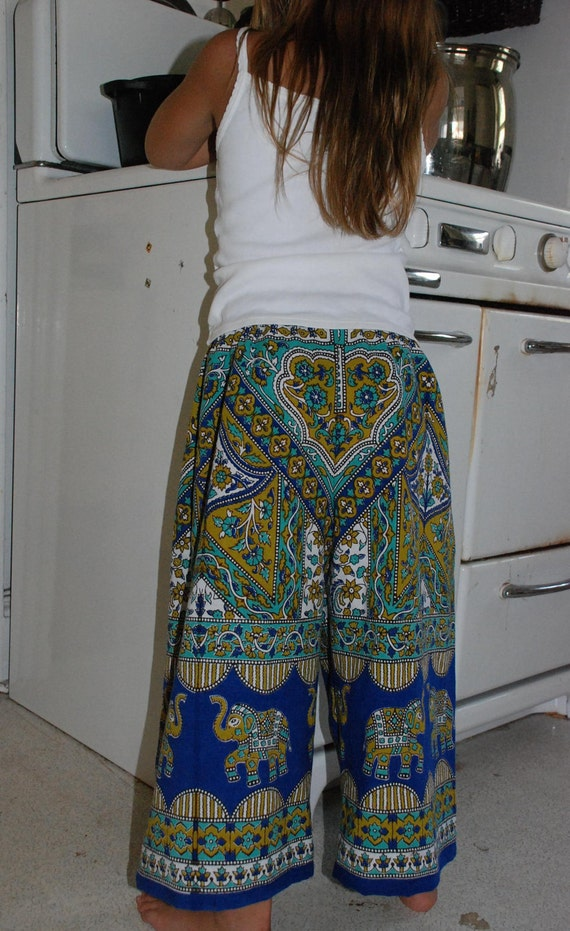 Boho Hippie Chick Hippie pants - Blue -Turquoise  Elephant - size 6-7 - will fit many sizes- read Measurements.Boys or Girls