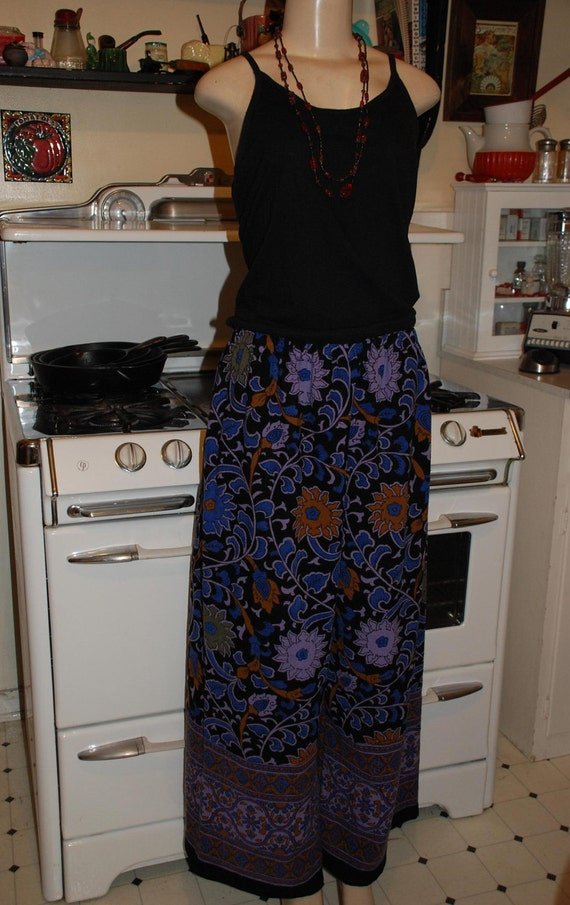 Hippie Pants - East Indian tapestry fabric - Sunflower Black Blue and Purple  - wide legs - fits most- read measurements