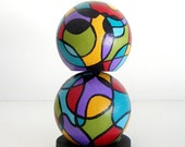 Abstract Lines Art - limited edition wooden doll