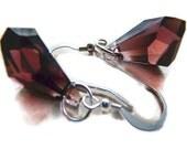 Burgundy Swarovski Crystal Drop Earrings with Sterling Silver