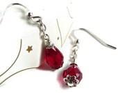 Red Crystal Earrings in Sterling Silver