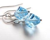 Blue Crystal Earrings Sterling Silver