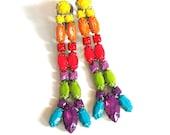 Vintage 1950's Rhinestone Earrings Hand Painted in Neon Colors.