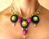 Bohemian statement necklace- Hot Pink, Turquoise and neon rhinestones on black ebony wood