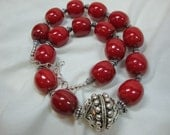 Cherries Jubilee Red with Silver Necklace