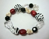 Black White and Red Wild Bold Necklace