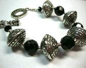Silver and Black Bold Bracelet