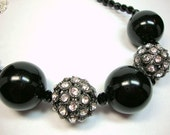 Hot Night in Black and Crystal Necklace Formal Occasion Wedding Jewelry