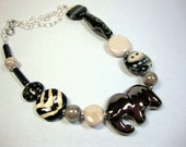 Black White Gray Swanky Elephant Necklace Tribal African Look