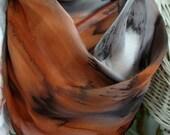 Scarf, Silk, Rusty Tan Hand Painted Silk Scarf