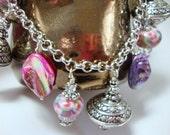 Raspberry Patch Pink Purple Silver Cha Cha Bracelet