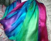 Scarf, Silk, Women, Fuschia Blue Purple Green Hand Dyed Silk Scarf Hawaii