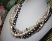 Multi Strand Freshwater Pearl Necklace in Peacock Mauve Ivory Formal Occasion Wedding Jewelry