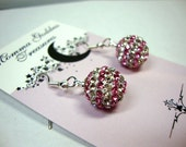 Pink Striped Crystal Earrings