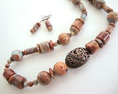 Tan Aqua African Opal & Copper Necklace FREE Earrings