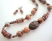 Tan Aqua African Opal & Copper Necklace FREE Earrings