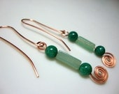 Jade Earrings with Copper Wirework