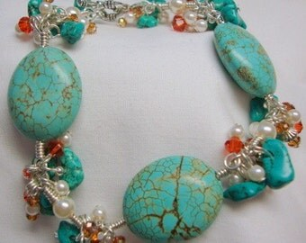 Southwest meets New York with Style Turquoise Pearl Coral