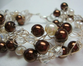 Simple Charm with Brown Pearls and Crystals