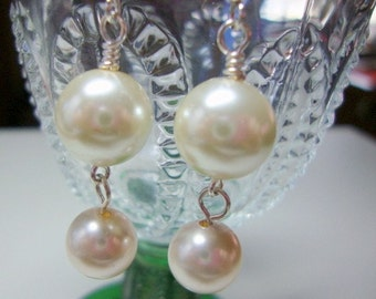 Double Pearl Earrings Bride Wedding Formal Occasion Jewelry
