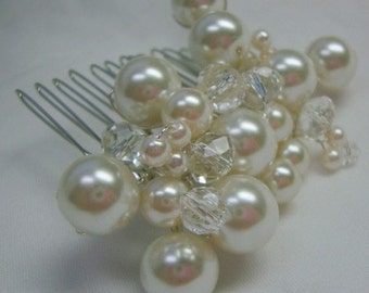Wedding Comb with Pearls and Crystals