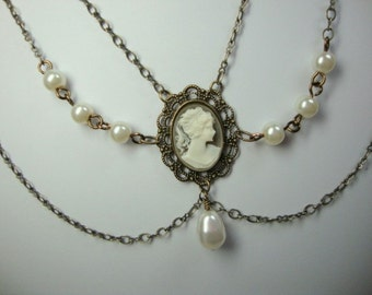 Cameo Princess Bride in Antique Brass Wedding Prom Formal Occasion Jewelry