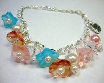 Blossom Time Bracelet with Flowers and Pearls, Gift for Her