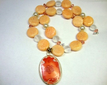 Pumpkin Chinese Pottery Shard Necklace Peach Coral