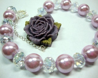 Old Fashioned Purple Rose Huge Lavender Pearls with Large Crystals Necklace